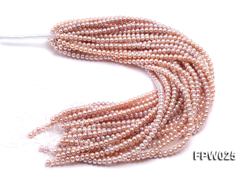 Wholesale 6x7mm Pink Flat Cultured Freshwater Pearl String big Image 3