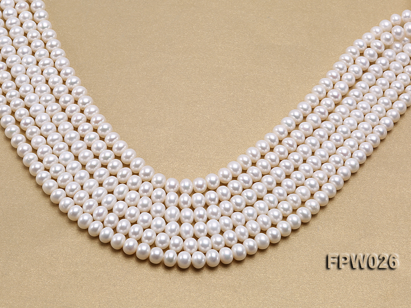 Wholesale 7.5x9.5mm White Flat Cultured Freshwater Pearl String big Image 1