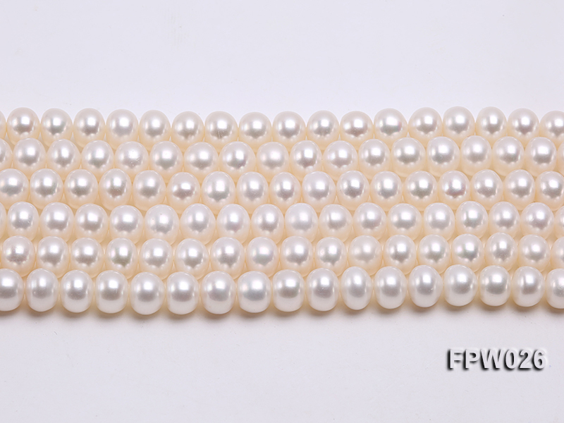 Wholesale 7.5x9.5mm White Flat Cultured Freshwater Pearl String big Image 2