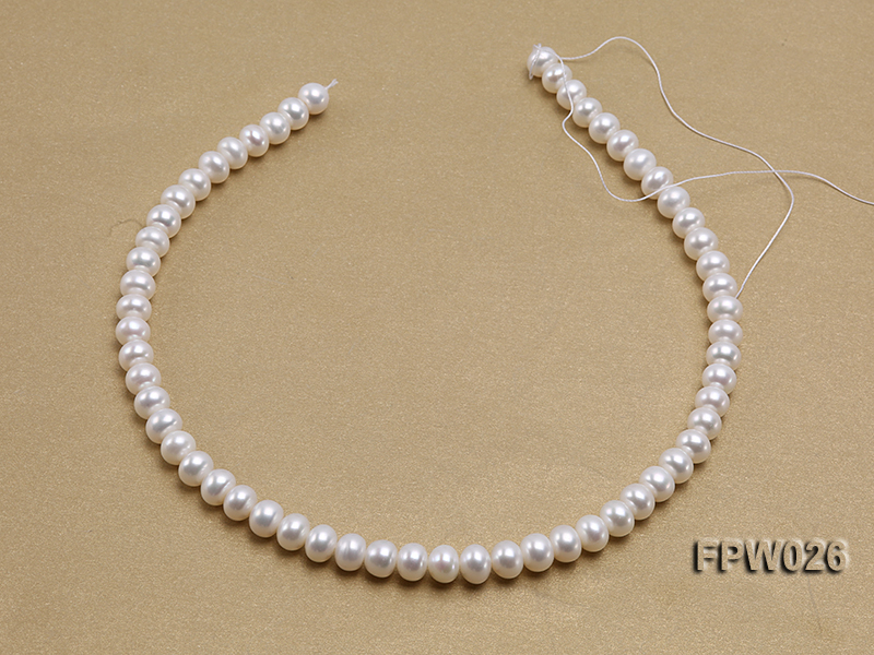 Wholesale 7.5x9.5mm White Flat Cultured Freshwater Pearl String big Image 3