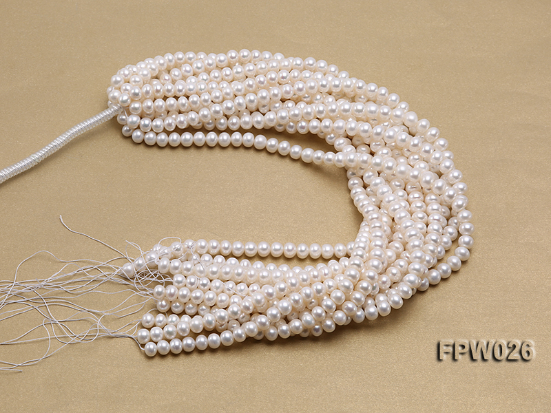 Wholesale 7.5x9.5mm White Flat Cultured Freshwater Pearl String big Image 4