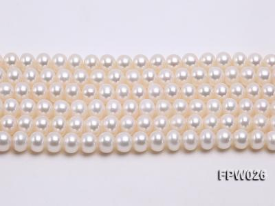 Wholesale 7.5x9.5mm White Flat Cultured Freshwater Pearl String FPW026 Image 2