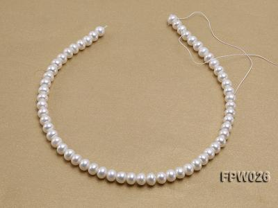 Wholesale 7.5x9.5mm White Flat Cultured Freshwater Pearl String FPW026 Image 3