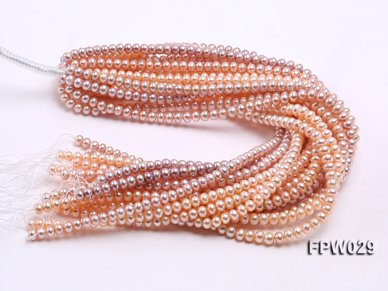 Wholesale 6x8mm Pink & Lavender Flat Cultured Freshwater Pearl String big Image 4