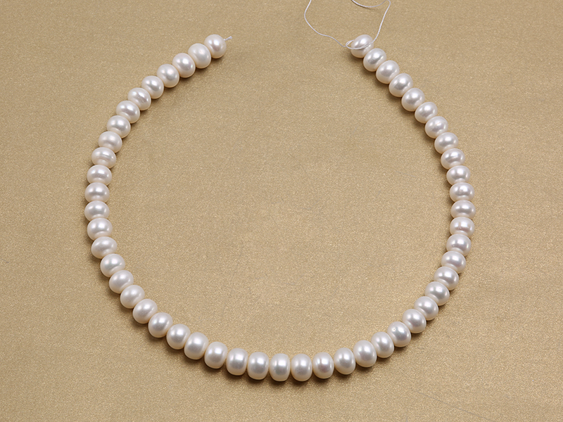 Wholesale 8x10.5mm Classic White Flat Cultured Freshwater Pearl String big Image 3