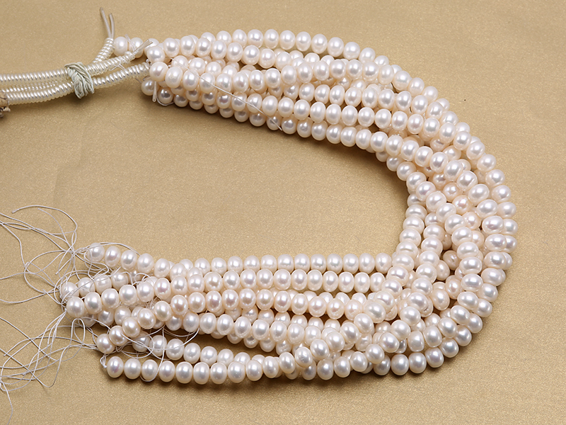 Wholesale 8x10.5mm Classic White Flat Cultured Freshwater Pearl String big Image 4
