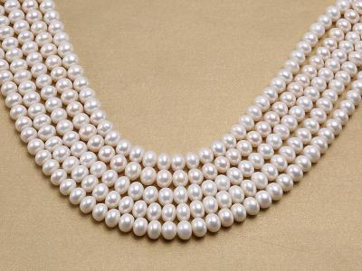 Wholesale 8x10.5mm Classic White Flat Cultured Freshwater Pearl String FPW030 Image 1