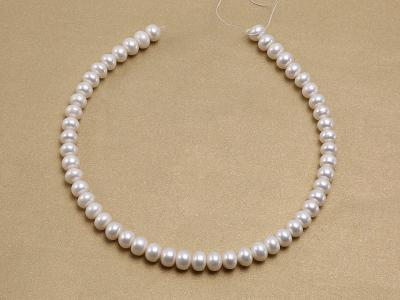 Wholesale 8x10.5mm Classic White Flat Cultured Freshwater Pearl String FPW030 Image 3