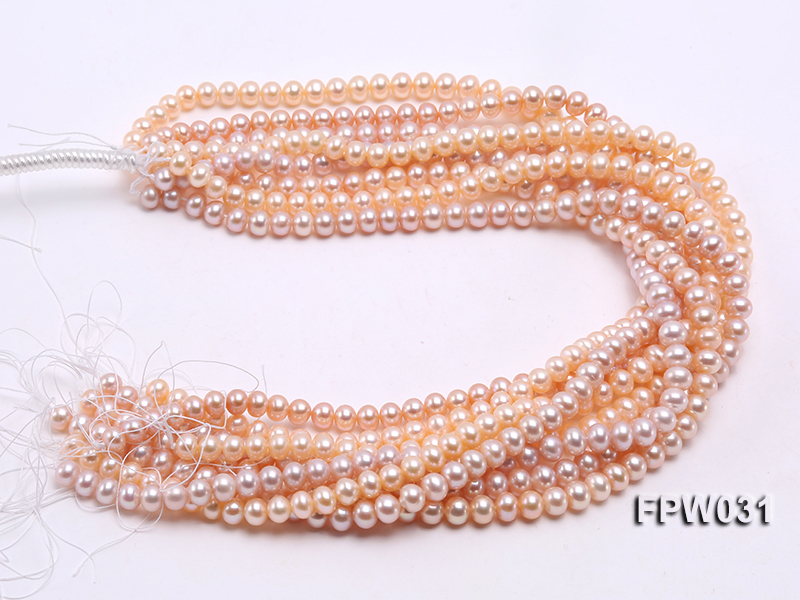 Wholesale 7x8mm Pink & Lavender Flat Cultured Freshwater Pearl String big Image 4