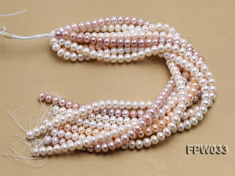 Wholesale 8.5x11mm White/Pink/Lavender Flat Freshwater Pearl String big Image 4
