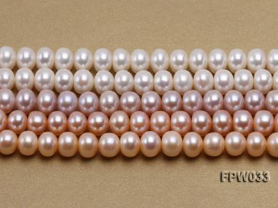 Wholesale 8.5x11mm White/Pink/Lavender Flat Freshwater Pearl String FPW033 Image 2