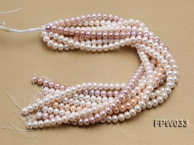 Wholesale 8.5x11mm White/Pink/Lavender Flat Freshwater Pearl String FPW033 Image 4