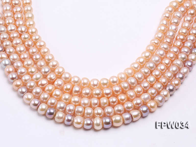 Wholesale Super-quality 10-12mm Flat Cultured Freshwater Pearl String big Image 1