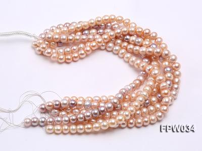 Wholesale Super-quality 10-12mm Flat Cultured Freshwater Pearl String FPW034 Image 4