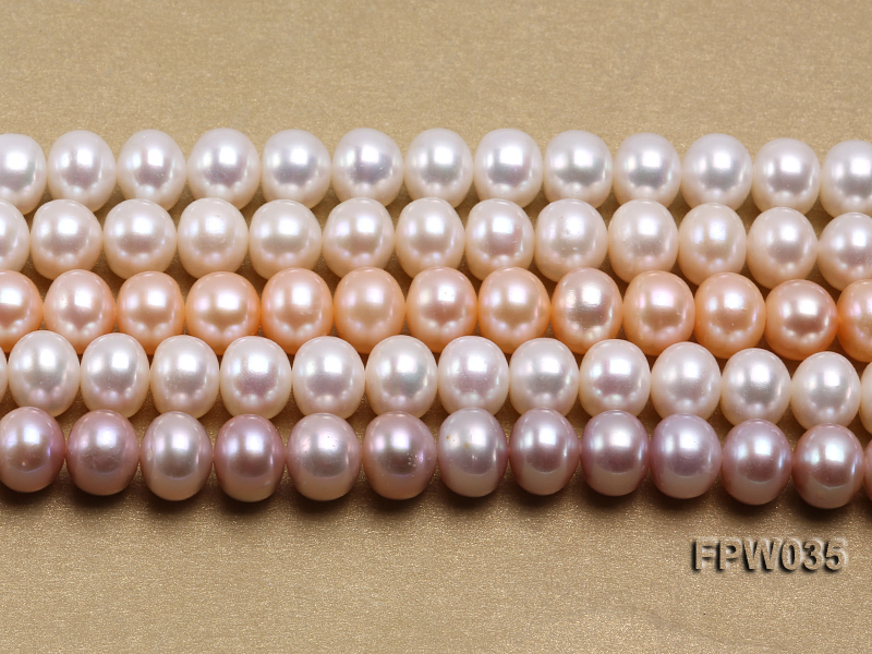 Wholesale 8.5x10mm White and Pink Flat Freshwater Pearl String big Image 2