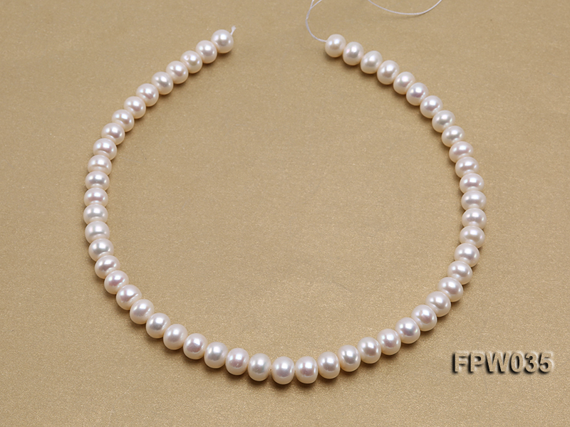 Wholesale 8.5x10mm White and Pink Flat Freshwater Pearl String big Image 3
