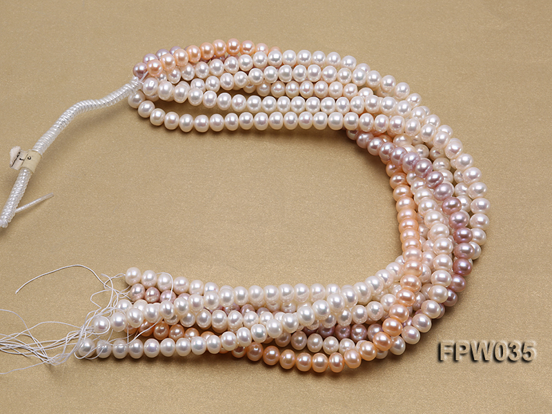 Wholesale 8.5x10mm White and Pink Flat Freshwater Pearl String big Image 4