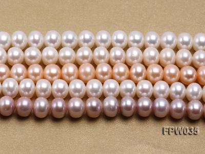 Wholesale 8.5x10mm White and Pink Flat Freshwater Pearl String FPW035 Image 2