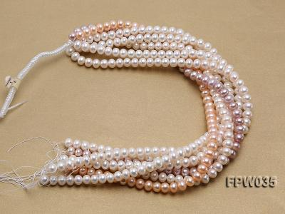 Wholesale 8.5x10mm White and Pink Flat Freshwater Pearl String FPW035 Image 4