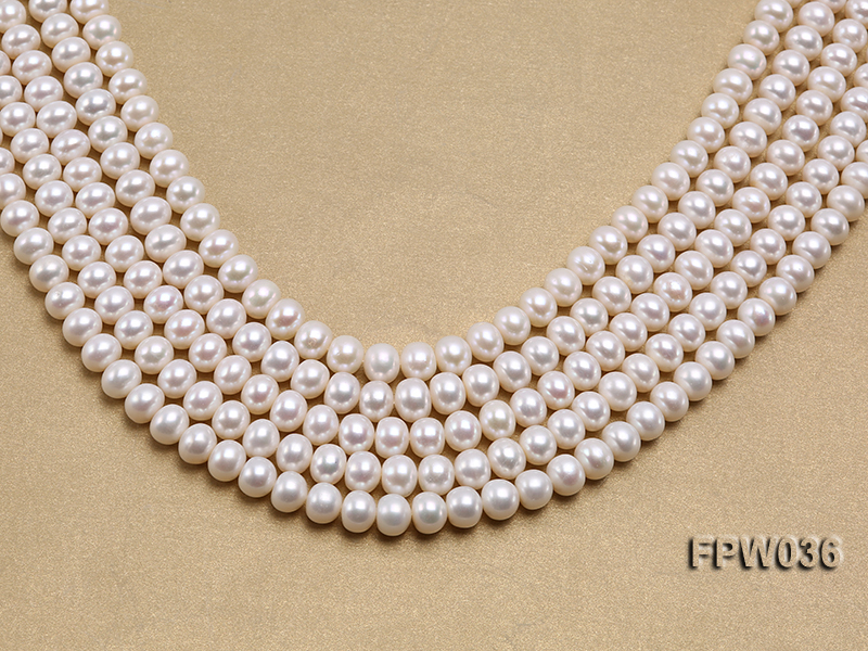 Wholesale High-quality 8.5x10mm White Flat Freshwater Pearl String big Image 1