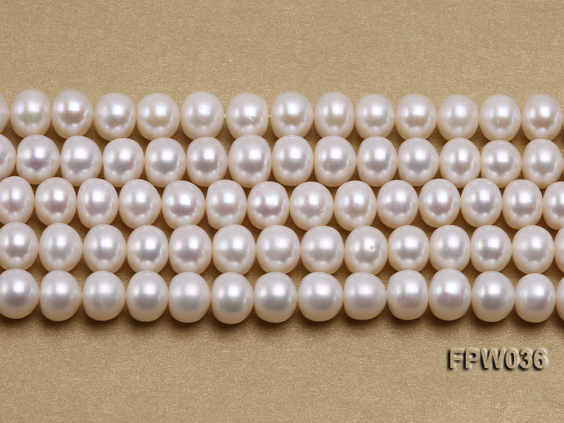 Wholesale High-quality 8.5x10mm White Flat Freshwater Pearl String big Image 2