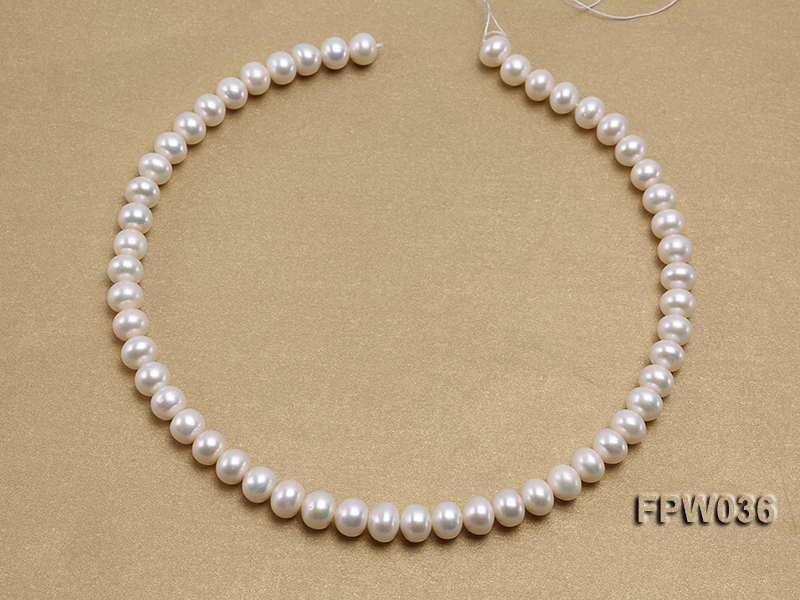 Wholesale High-quality 8.5x10mm White Flat Freshwater Pearl String big Image 3