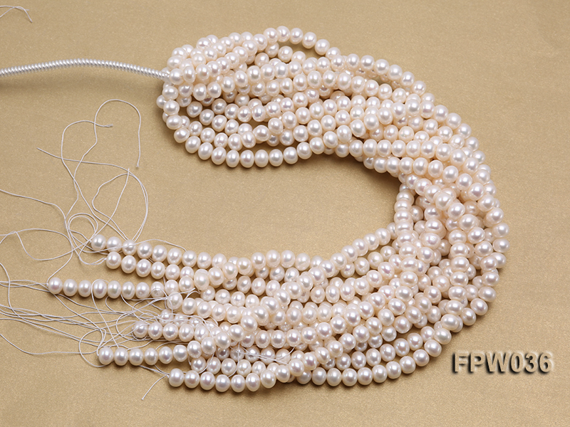 Wholesale High-quality 8.5x10mm White Flat Freshwater Pearl String big Image 4