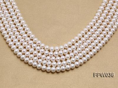 Wholesale High-quality 8.5x10mm White Flat Freshwater Pearl String FPW036 Image 1