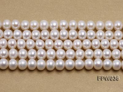 Wholesale High-quality 8.5x10mm White Flat Freshwater Pearl String FPW036 Image 2