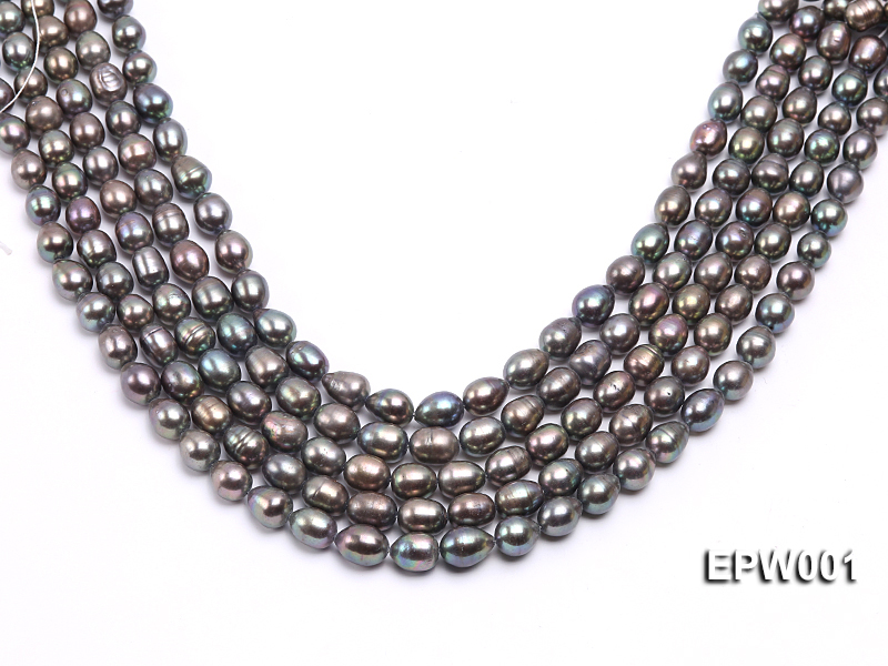 Wholesale 9X11mm Black Rice-shaped Freshwater Pearl String  big Image 1