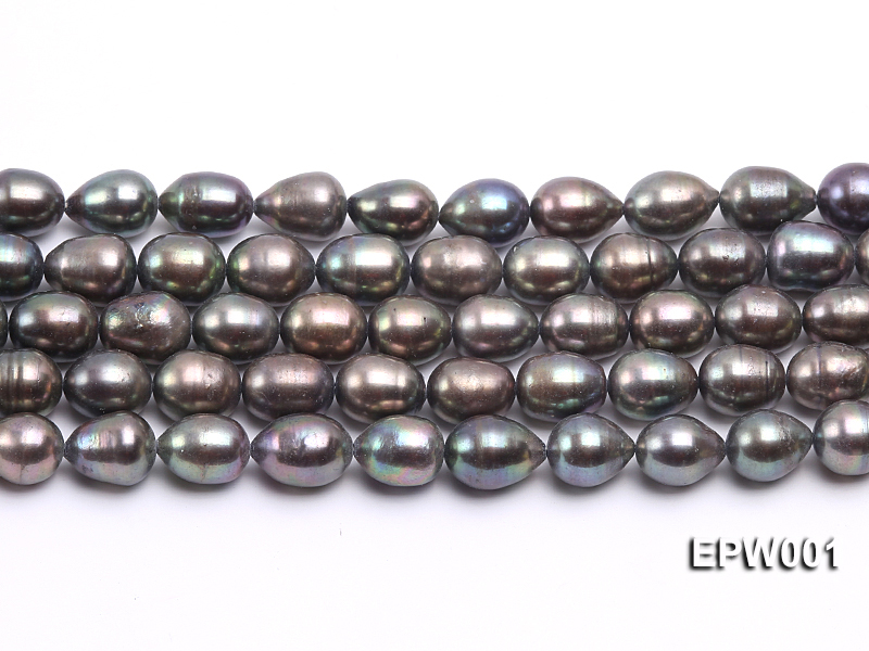 Wholesale 9X11mm Black Rice-shaped Freshwater Pearl String  big Image 2
