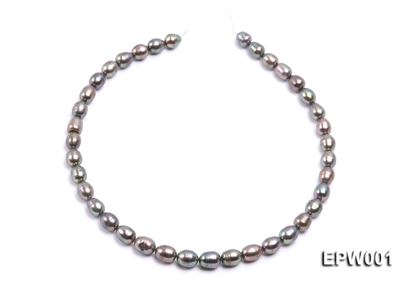 Wholesale 9X11mm Black Rice-shaped Freshwater Pearl String  big Image 3