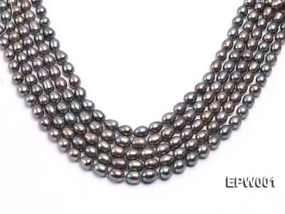 Wholesale 9X11mm Black Rice-shaped Freshwater Pearl String  EPW001 Image 1