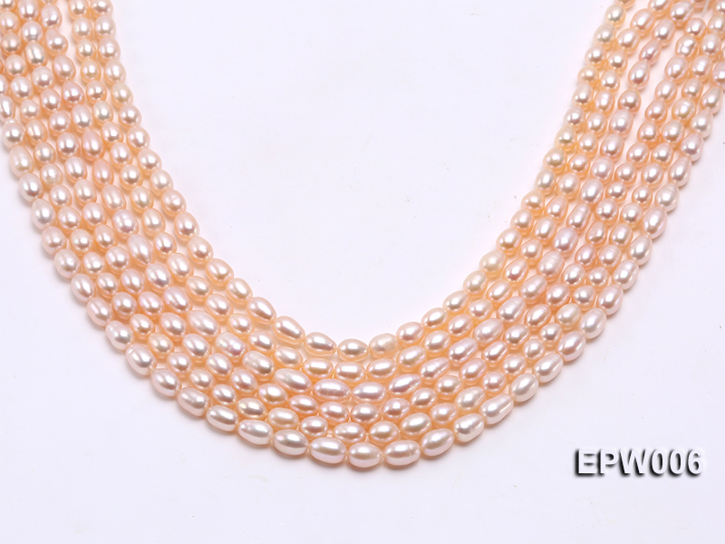 Wholesale 5.5-6.5mm High-quality Pink Rice-shaped Freshwater Pearl String big Image 2