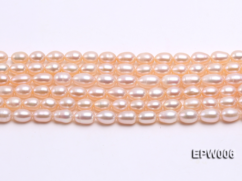 Wholesale 5.5-6.5mm High-quality Pink Rice-shaped Freshwater Pearl String big Image 1