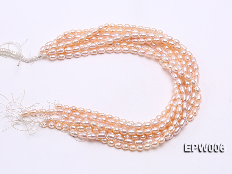 Wholesale 5.5-6.5mm High-quality Pink Rice-shaped Freshwater Pearl String big Image 4