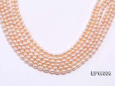 Wholesale 5.5-6.5mm High-quality Pink Rice-shaped Freshwater Pearl String EPW006 Image 2