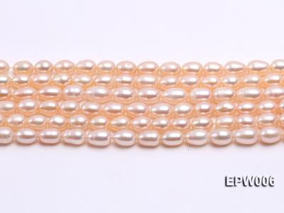 Wholesale 5.5-6.5mm High-quality Pink Rice-shaped Freshwater Pearl String EPW006 Image 1