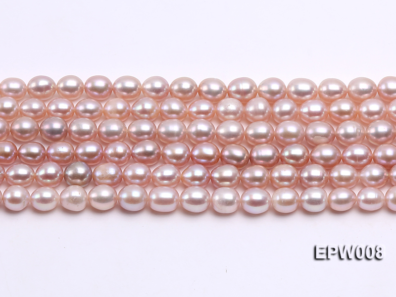 Wholesale High-quality 6.5-7.5mm Natural Lavender Rice-shaped Freshwater Pearl String big Image 2