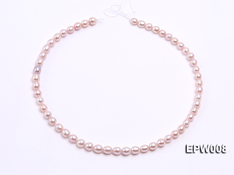 Wholesale High-quality 6.5-7.5mm Natural Lavender Rice-shaped Freshwater Pearl String big Image 3