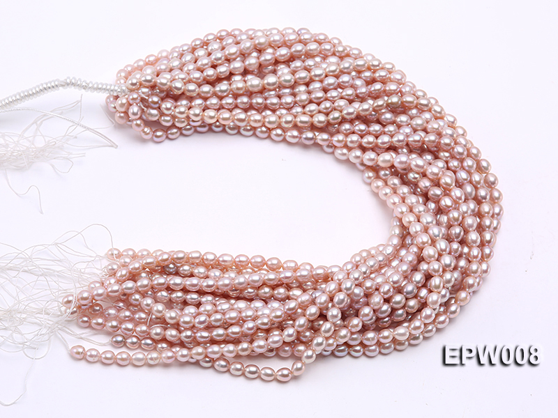 Wholesale High-quality 6.5-7.5mm Natural Lavender Rice-shaped Freshwater Pearl String big Image 4