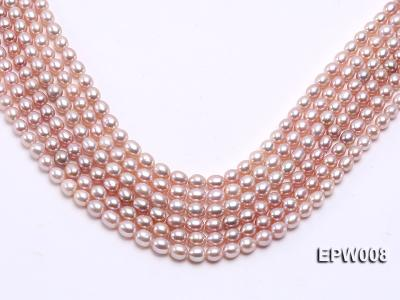 Wholesale High-quality 6.5-7.5mm Natural Lavender Rice-shaped Freshwater Pearl String EPW008 Image 1