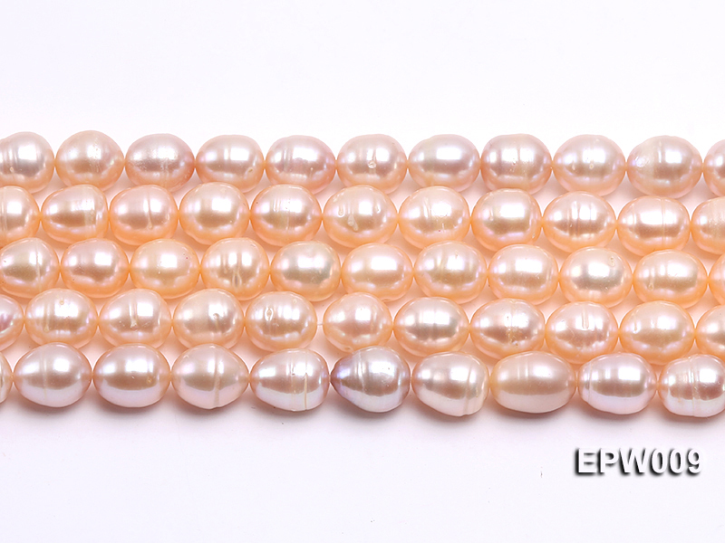 Wholesale 9x11mm pink  Rice-shaped Freshwater Pearl String big Image 2