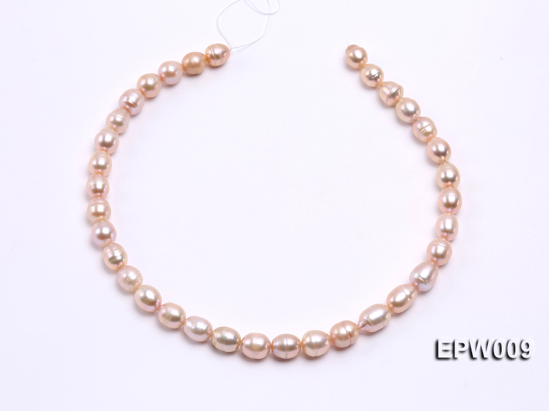 Wholesale 9x11mm pink  Rice-shaped Freshwater Pearl String big Image 3