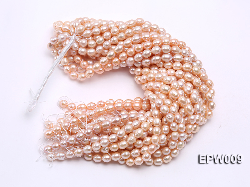 Wholesale 9x11mm pink  Rice-shaped Freshwater Pearl String big Image 4