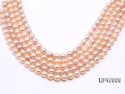 Wholesale 9x11mm pink  Rice-shaped Freshwater Pearl String EPW009 Image 1