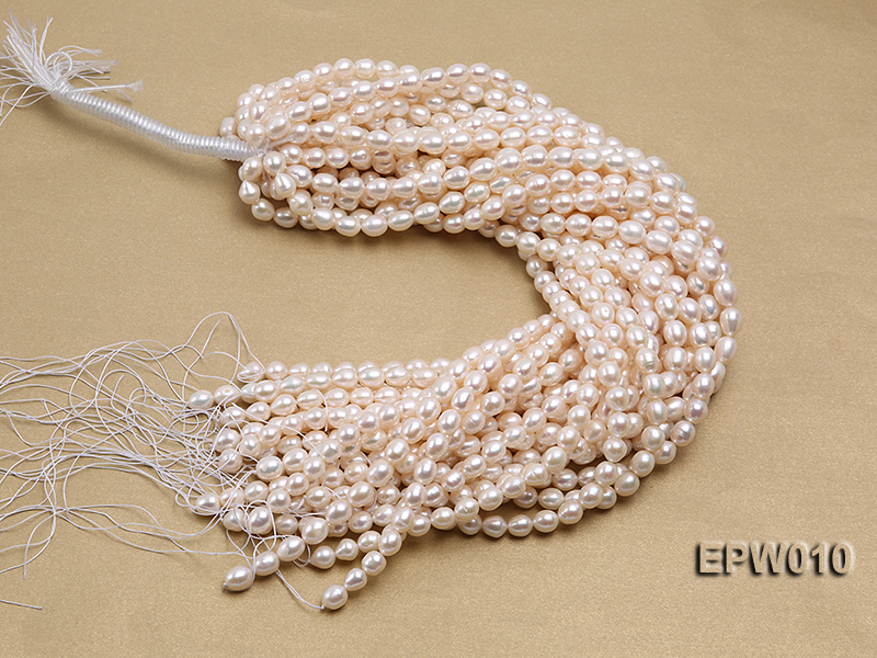 wholesale 8.5x9.5mm white elliptical freshwater pearl strings  big Image 3