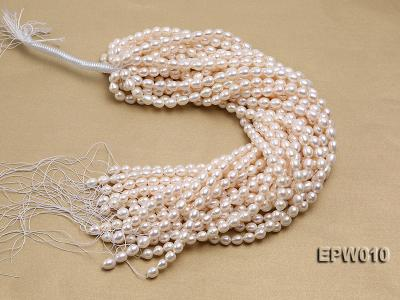 wholesale 8.5x9.5mm white elliptical freshwater pearl strings  EPW010 Image 3