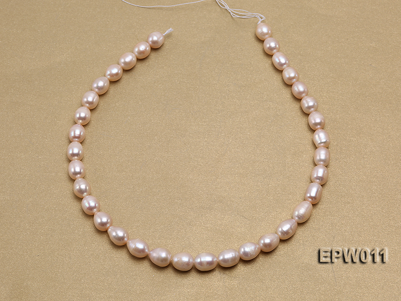 Wholesale 10X12mm Pink Rice-shaped Freshwater Pearl String big Image 3