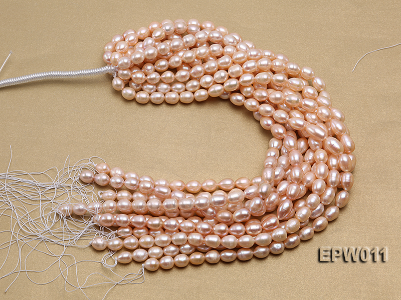 Wholesale 10X12mm Pink Rice-shaped Freshwater Pearl String big Image 4